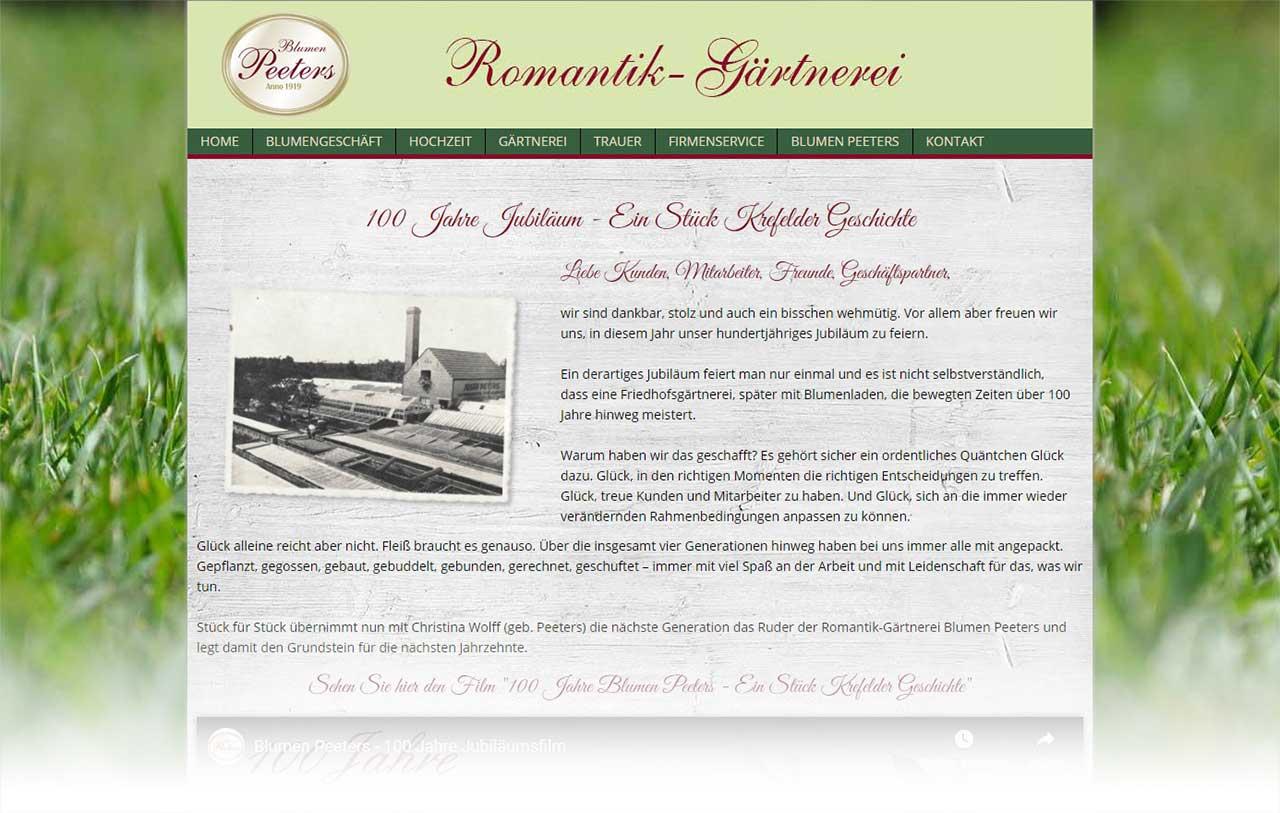 Blumen Peeters Jubiläum Landingpage