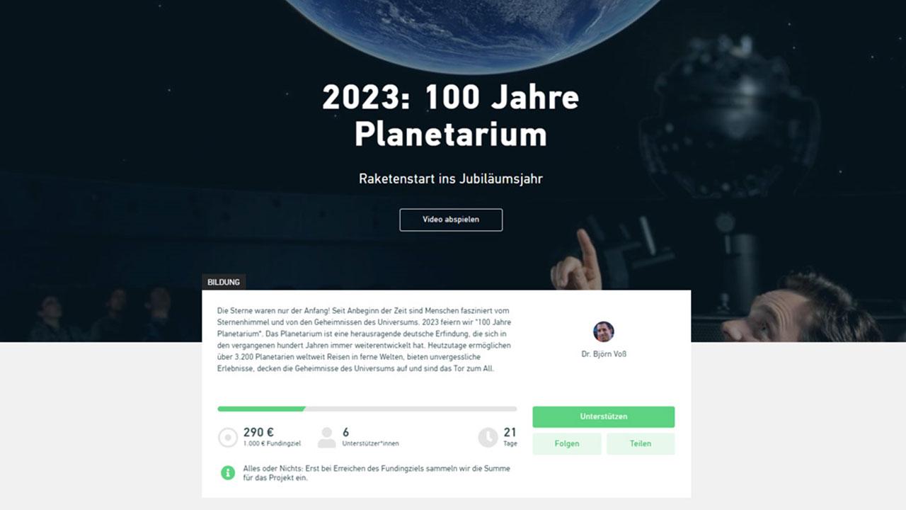 Crowdfunding Aktion für 100 Jahre Planetarium