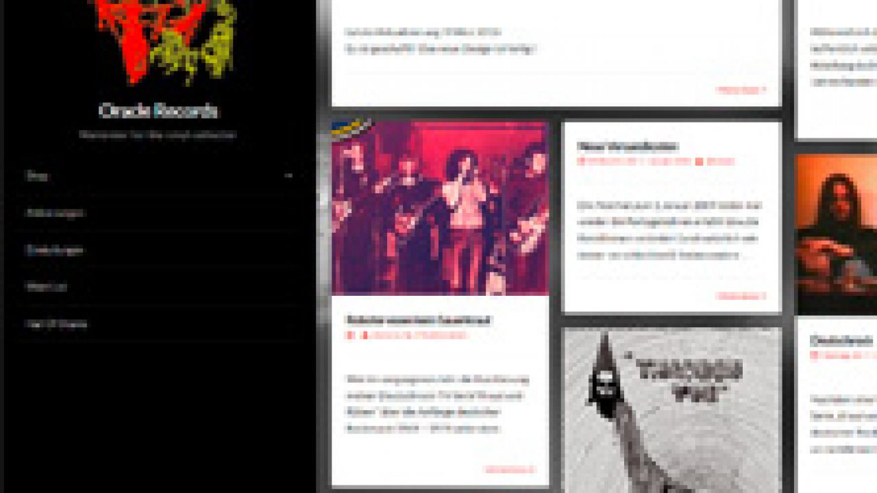 Oracle Records Webseite mit Shop