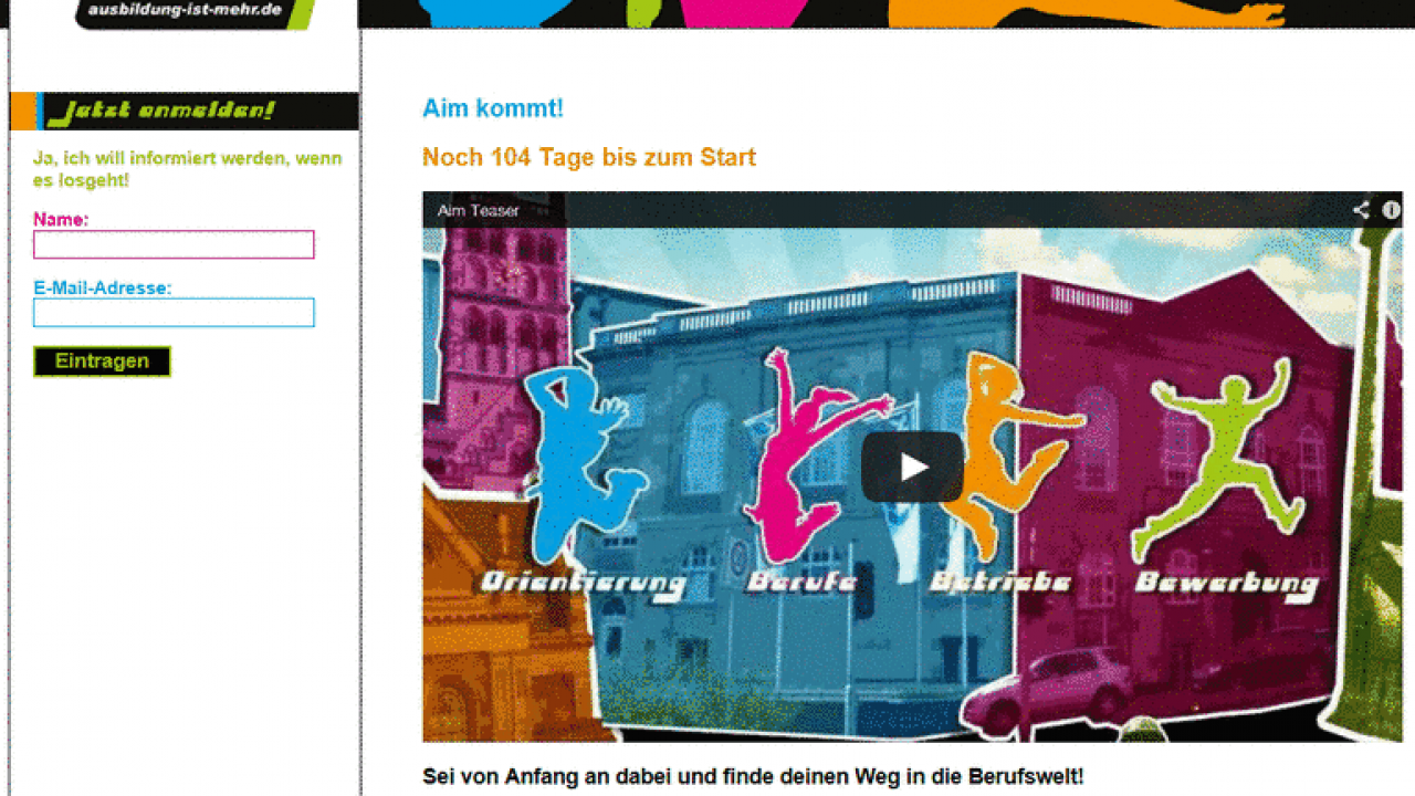 Screenshot der Homepage von Aim