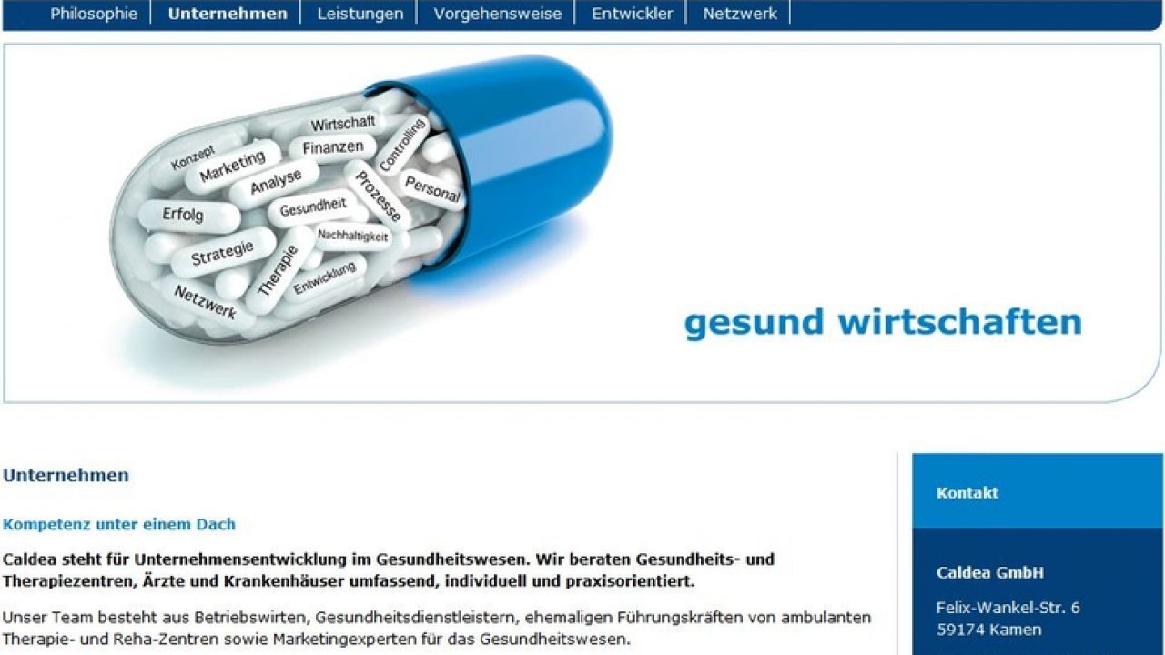 Screenshot der Caldea Homepage