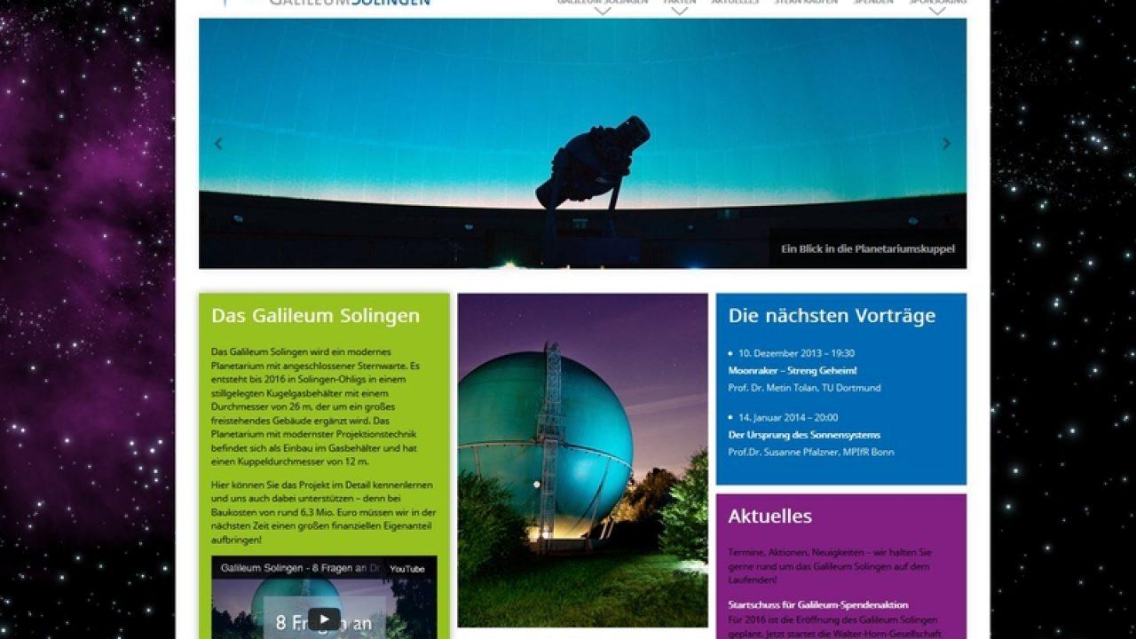 Screenshot der Homepage des Galileum Solingen
