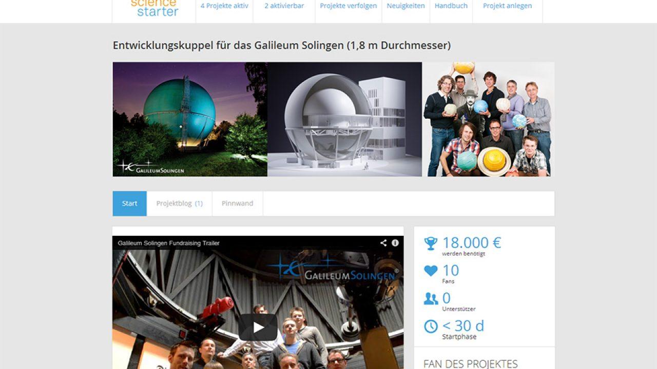 Screenshot der Crowdfundingseite des Galileum Solingen auf Sciencestarter.de