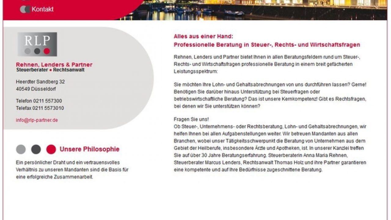 Screenshot der Homepage von Rehnen