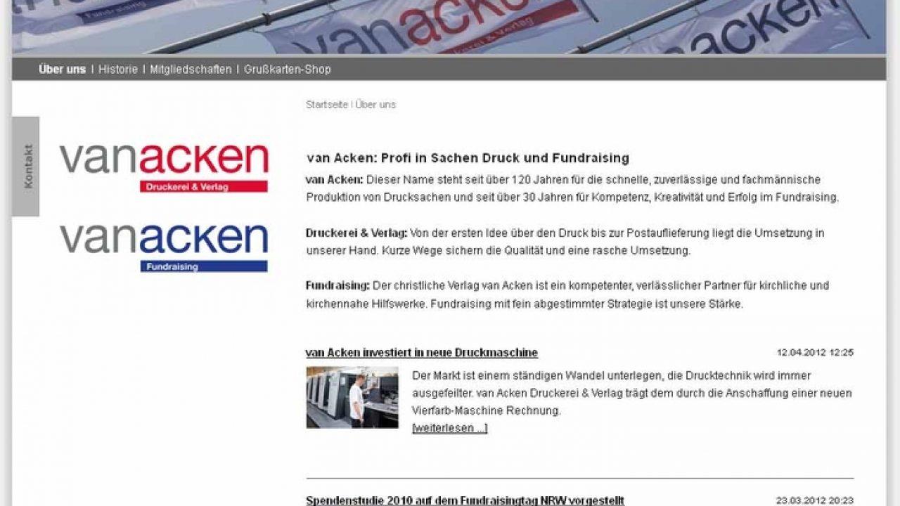 Screenshot der neuen Van Acken Webseite