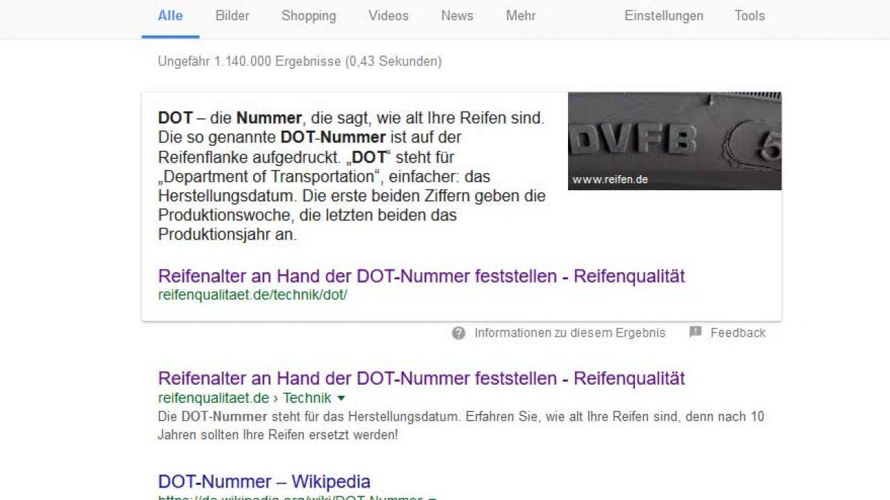 Reifenqualität - SEO Google Snippets