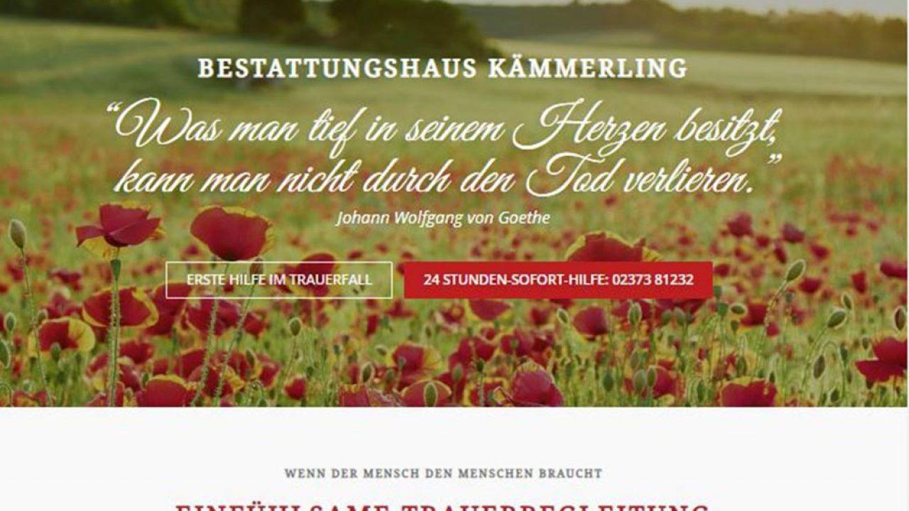 Bestattungshaus Kämmerling Internetseite Website Bestattungshaus Kämmerling