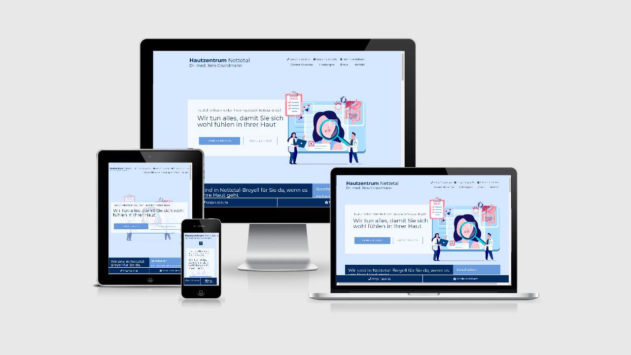 Website für Hautzentrum Nettetal