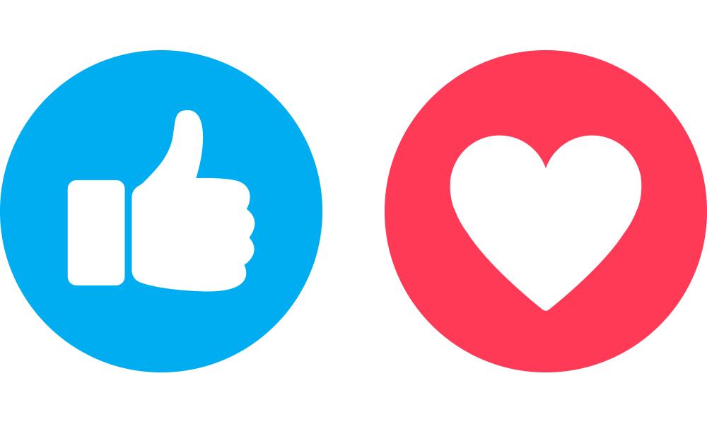 Socialmedia Icons Like und Herz