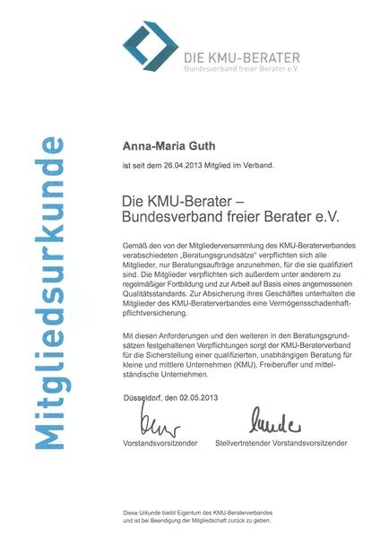 Mitgliedsurkunde der KMU für Anna-Maria Guth