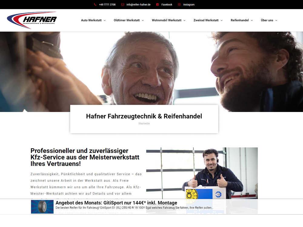 Neue Website online: Hafner Fahrzeugtechnik und Reifenhandel