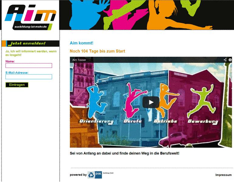 Screenshot der Homepage von Aim