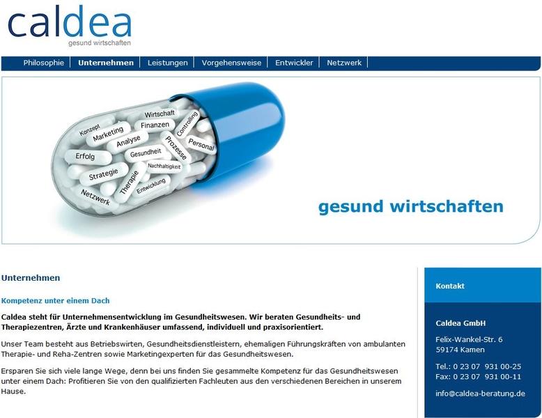 Screenshot der Caldea Homepage