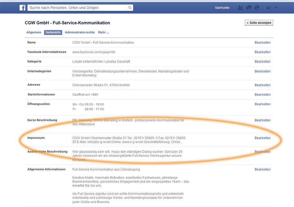 Facebook-Recht|So richten Sie auf Facebook Ihr Impressum ein