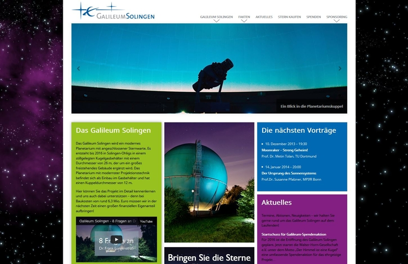 Screenshot der Homepage des Galileum Solingen