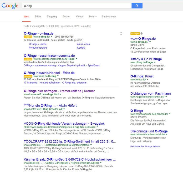 Screenshot Kremer in der Ergebnisliste einer Google-Suche nach O-Ringen