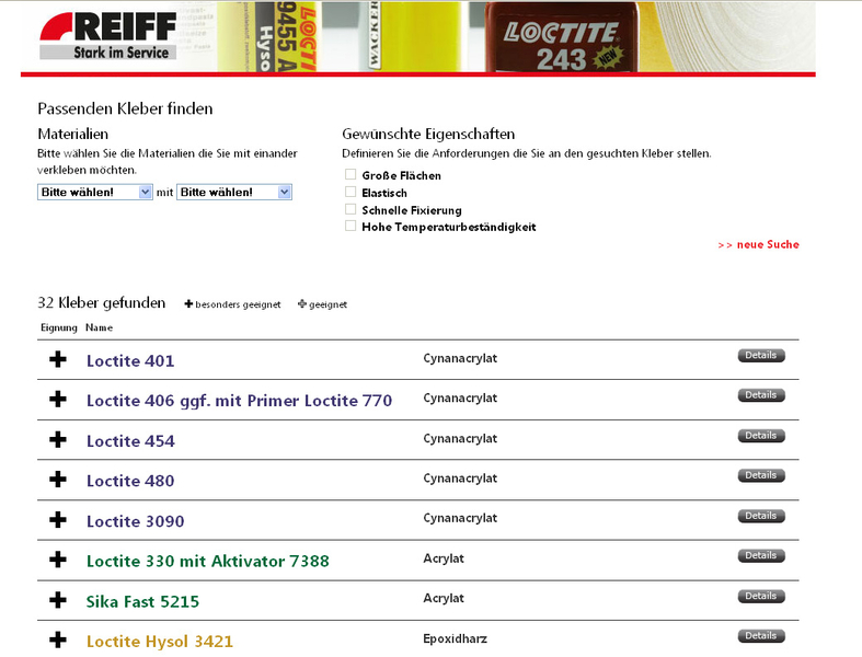 Screenshot des REIFF TP Klebstoffnavi