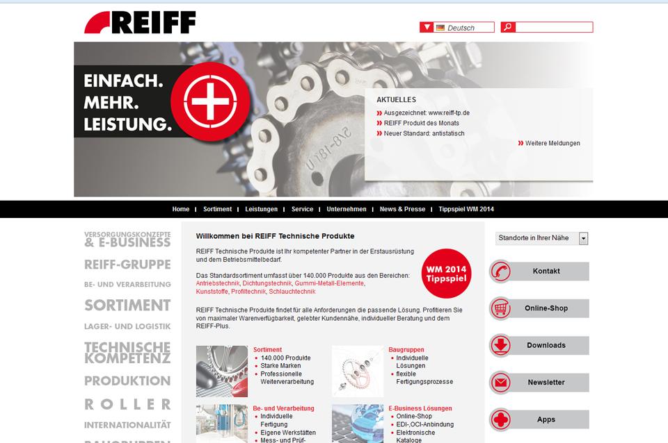 Screenshot der Webseite von REIFF Technische Produkte