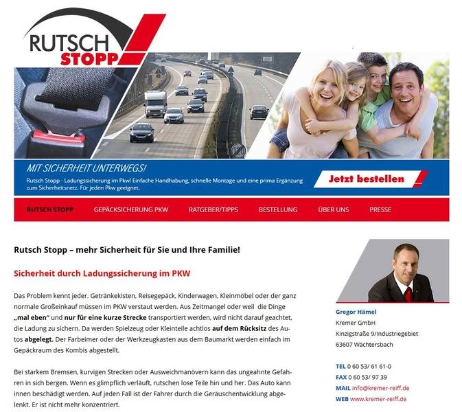 Screenshot der Rutschstopp Homepage