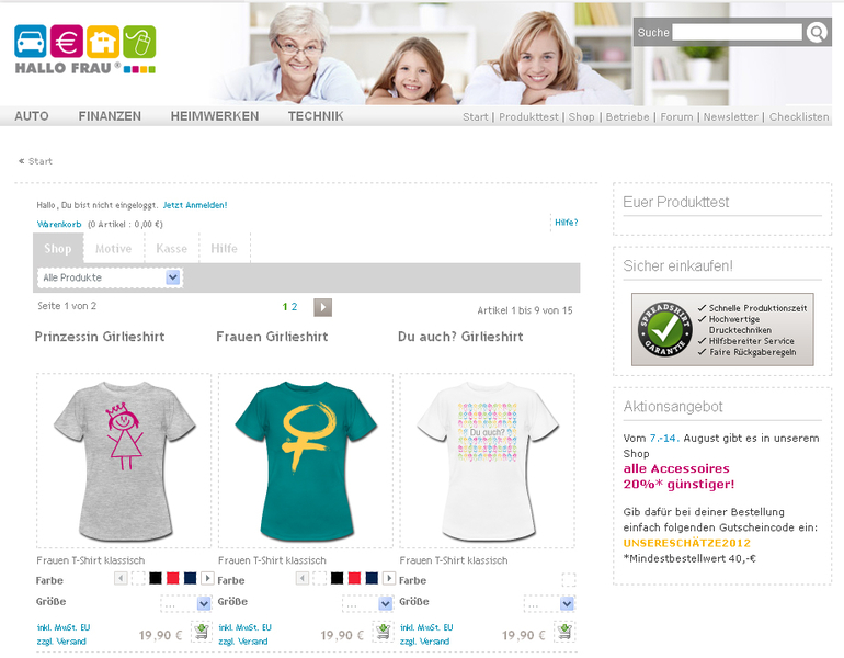 Screenshot Hallo Frau Shirtshop