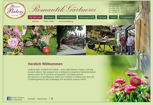 Screenshot der Webseite von Blumen Peeters