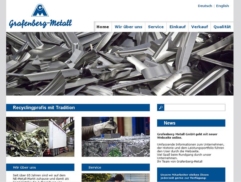 Screenshot der Webseite von Grafenberg Metall